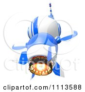 Clipart 3d Blueberry Rocket Robot Flying From Behind Royalty Free CGI Illustration