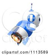 3d Blueberry Rocket Robot Flying In Profile