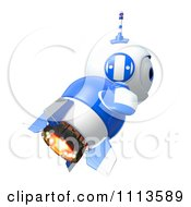 3d Blueberry Rocket Robot Flying In Profile