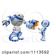 3d Rogi Robot Aggressively Pointing A Weapon At Another