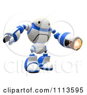 3d Rogi Robot Facing With A Flame Thrower Arm