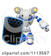 Clipart 3d Rogi Robot Facing With A Shield And Jet Pack 1 Royalty Free CGI Illustration