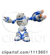 3d Rogi Robot Facing With A Blaster Arm Weapon