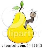Clipart Worm In A Yellow Pear Royalty Free Vector Illustration by Andrei Marincas