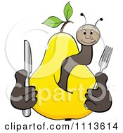 Clipart Hungry Worm In A Yellow Pear Royalty Free Vector Illustration by Andrei Marincas