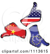 Clipart American European And Chinese Thumb Up Hand Flags Royalty Free Vector Illustration by Andrei Marincas