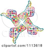 Clipart Circle Of Four National Flag Thumb Up Hands Royalty Free Vector Illustration by Andrei Marincas