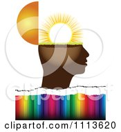 Clipart Profiled Head Globe Open With Sunshine Over Colors Royalty Free Vector Illustration