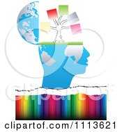 Clipart Profiled Head Globe Open With A Memo Tree Over Colors Royalty Free Vector Illustration by Andrei Marincas