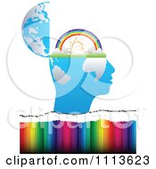 Clipart Profiled Head Globe Open With A Sunny Rainbow Over Colors Royalty Free Vector Illustration by Andrei Marincas