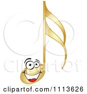 Clipart Happy Gold Music Note Royalty Free Vector Illustration