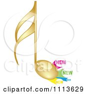 Clipart Gold Music Note With New Labels Royalty Free Vector Illustration by Andrei Marincas