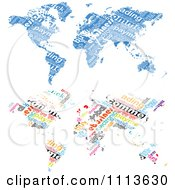 Clipart Blue And Colorful Word Collage World Maps Royalty Free Vector Illustration by Andrei Marincas