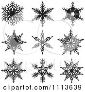 Clipart Black And White Snowflake Icons 1 Royalty Free Vector Illustration by dero