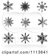 Clipart Black And White Snowflake Icons 3 Royalty Free Vector Illustration by dero