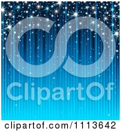 Clipart Background Of Sparkles And Blue Streaks Royalty Free Vector Illustration
