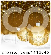 Clipart Golden Christmas Background With 3d Baubles In Snow And Streaks Royalty Free Vector Illustration