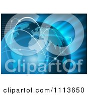 Clipart Blue Globe With Communications Hops Over Binary And Light Royalty Free Vector Illustration by dero