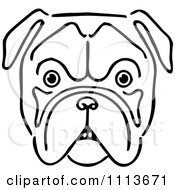 Clipart Vintage Black And White Bulldog Face Royalty Free Vector Illustration