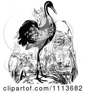 Clipart Vintage Black And White Crane Royalty Free Vector Illustration