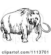 Clipart Vintage Black And White Wooly Mammoth 1 Royalty Free Vector Illustration