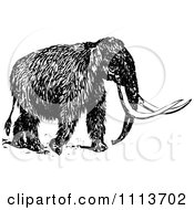 Clipart Vintage Black And White Wooly Mammoth 2 Royalty Free Vector Illustration