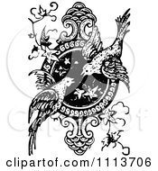 Clipart Vintage Black And White Ornate Bird Design Element Royalty Free Vector Illustration by Prawny Vintage