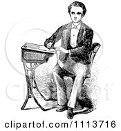 Clipart Vintage Black And White Victorian School Boy Writing At A Desk Royalty Free Vector Illustration