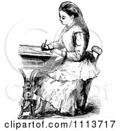 Clipart Vintage Black And White Victorian School Girl Writing At A Desk Royalty Free Vector Illustration