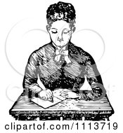 Clipart Vintage Black And White Female Teacher Writing At A Desk Royalty Free Vector Illustration