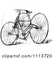 Clipart Vintage Black And White Tricycle Royalty Free Vector Illustration