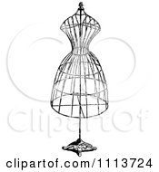Clipart Vintage Black And White Wire Dressmaker Frame Royalty Free Vector Illustration