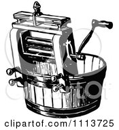Clipart Vintage Black And White Laundry Wringer Royalty Free Vector Illustration