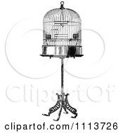 Vintage Black And White Antique Bird Cage On A Stand