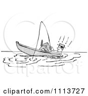 Clipart Retro Black And White Man Leaning Back In A Boat While Fishing Royalty Free Vector Illustration