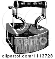 Clipart Vintage Black And White Box Iron Royalty Free Vector Illustration