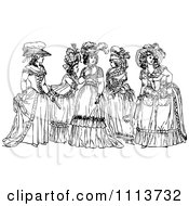 Clipart Vintage Black And White Ladies In Dresses Royalty Free Vector Illustration