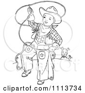 Clipart Vintage Black And White Cowboy Kid Swinging A Lariat Royalty Free Vector Illustration