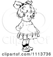 Clipart Vintage Black And White Cute Girl With Her Hands Behind Her Back Royalty Free Vector Illustration by Prawny Vintage