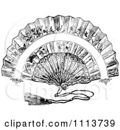 Clipart Vintage Black And White Hand Fan Royalty Free Vector Illustration