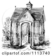 Clipart Vintage Black And White Garden House Royalty Free Vector Illustration