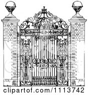 Clipart Vintage Black And White Ornate Wrought Iron Gate Royalty Free Vector Illustration