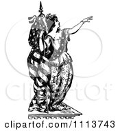 Vintage Black And White Lady Liberty Leaning Against A Flag And Pointing