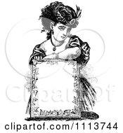 Clipart Vintage Black And White Lady Resting Over A Sign Royalty Free Vector Illustration
