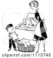Clipart Retro Black And White Mother And Son Folding And Washing Laundry Royalty Free Vector Illustration
