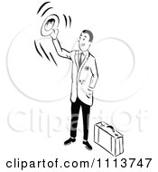 Clipart Retro Black And White Traveling Businessman Waving Goodbye With His Hat Royalty Free Vector Illustration