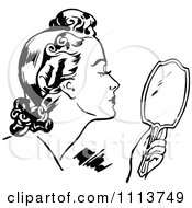 Clipart Retro Black And White Woman Using A Hand Mirror Royalty Free Vector Illustration