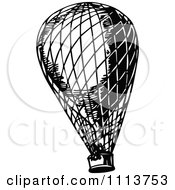 Clipart Vintage Black And White Hot Air Balloon Royalty Free Vector Illustration