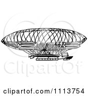 Clipart Vintage Black And White Airship Royalty Free Vector Illustration