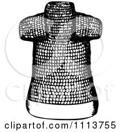 Clipart Vintage Black And White Ancient Chainmail Coat 1 Royalty Free Vector Illustration